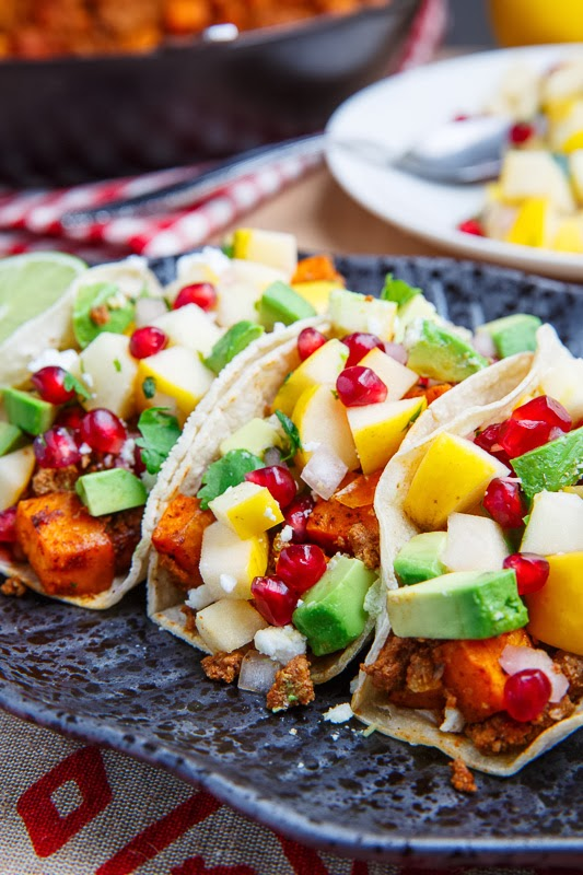 Chorizo and Sweet Potato Tacos with Apple and Pomegranate Salsa 800 9761